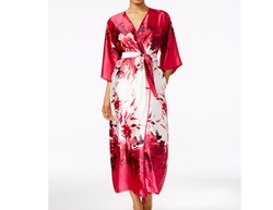 Signature Satin Long Robe by Oscar de la Renta in Animal Kingdom