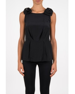 Black Top Crepe De Chine Gros by Prada in Suits