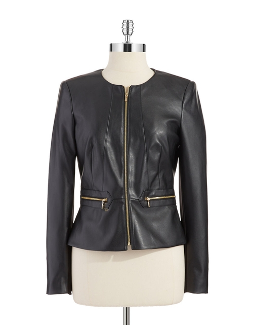 Peplum Faux Leather Jacket by Calvin Klein in The Vampire Diaries - Season 7 Episode 9
