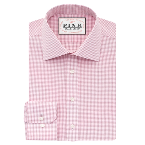 Finch Check Slim Fit Button Cuff Shirt by Thomas Pink in Guilt - Season 1 Episode 1