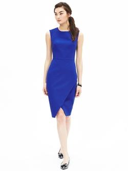 Blue Sloan-Fit Cobalt Cross-Front Sheath Dress by Banana Republic in The Flash