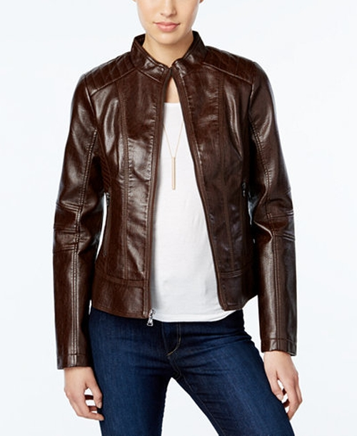 Textured Leather Bomber Jacket by Guess in Paper Towns
