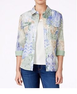 Layered Button-Front Top by Alfred Dunner in Animal Kingdom