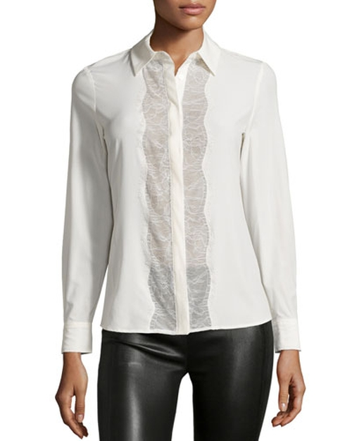 Poe Long-Sleeve Lace-Panel Blouse by Catherine Catherine Malandrino in Dirty Dancing