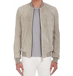 Suede Bomber Jacket by Lot 78 x Barneys New York in Molly's Game