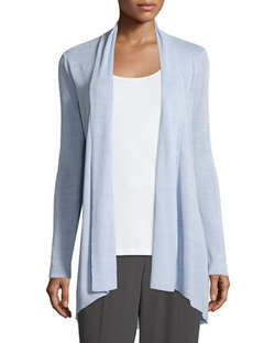 Linen-Blend Shaped Cardigan by Eileen Fisher in Mistresses