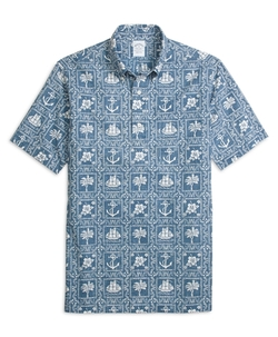 Regent Fit Nautical Print Popover Short-Sleeve Sport Shirt by Brooks Brothers in Mike and Dave Need Wedding Dates