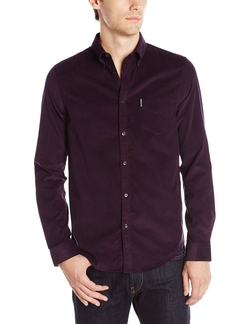 Men's Long Sleeve Plain Cord Woven Shirt by Ben Sherman in Quantico