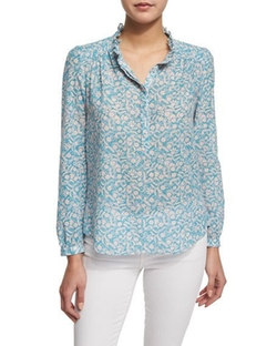 Button-Front Floral-Print Semisheer Blouse by Rebecca Taylor in Keeping Up with the Joneses