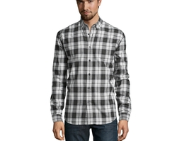 Plaid Wool Blend 'Calvin' Button Down Shirt by Slate & Stone in Deepwater Horizon