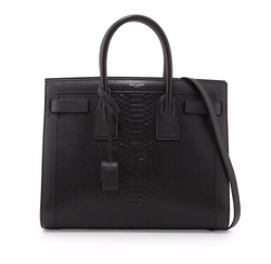 Sac de Jour Small Python-Stamped Tote Bag by Saint Laurent  in Billions