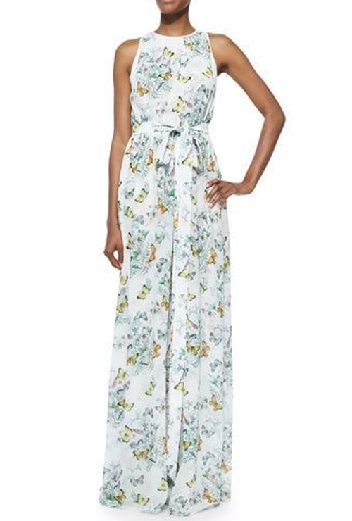 Ava Sleeveless Butterfly-Print Maxi Dress by Erin Fetherston in Mistresses - Season 4 Episode 12