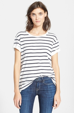 Feeder Stripe Tee by Vince in Black-ish