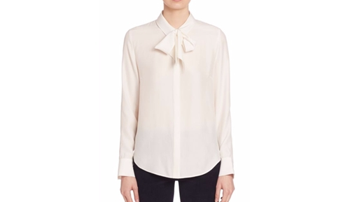 Bow Tie Silk Blouse by Frame in Miss Sloane
