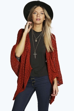 Amy Crochet Cape Cardigan by Boohoo in The Vampire Diaries