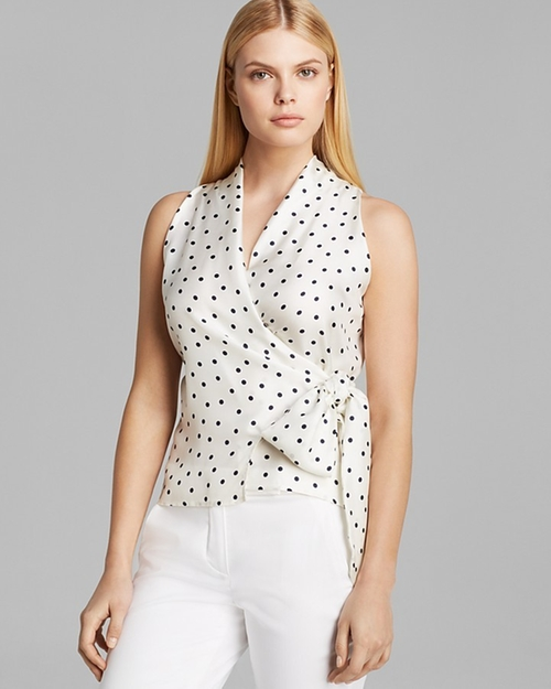 Eolo Sleeveless Shawl Collar Polka Dot Top by Max Mara in Pretty Little Liars - Season 6 Episode 15