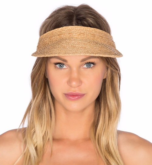 Raffia Leather Visor by Zimmermann in The Boss