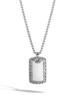 Classic Chain  Dog Tag Pendant Necklace by John Hardy in Daddy's Home