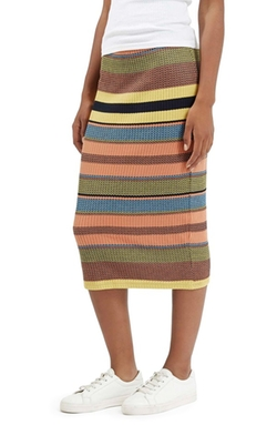 Chevron Stripe Ribbed Skirt by Topshop in Scream Queens