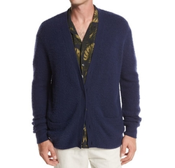 Textured Wool-Cashmere Cardigan, Navy by Vince in New Girl