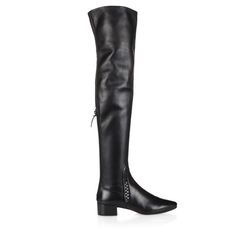 Woven Detail Nappa Leather Over-The-Knee Boots by Francesco Russo in Atomic Blonde