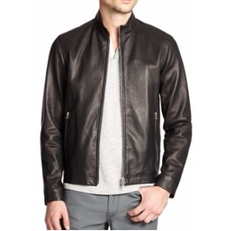 Morveck Leather Bomber Jacket by Theory in Rosewood