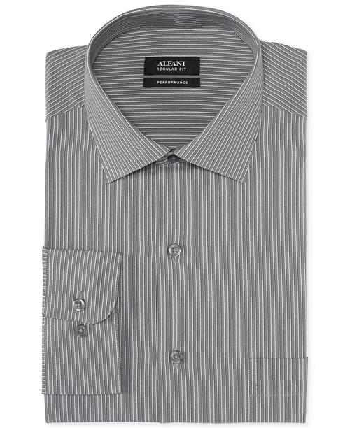 Grey Stripe Performance Dress Shirt by Alfani in Elementary - Season 4 Episode 4