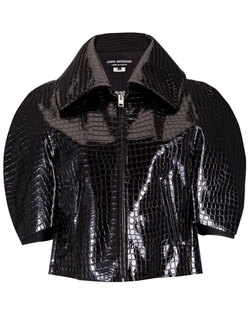 Textured Cropped Patent Jacket by Junya Watanabe in Empire