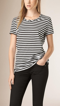 Striped Cotton T-Shirt by Burberry in The Women