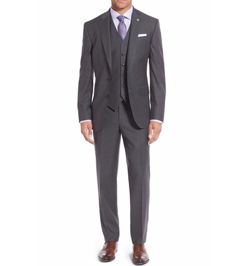 'Jay' Three-Piece Stripe Wool Suit by Ted Baker London in Ballers