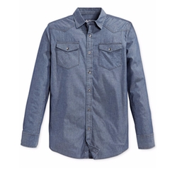 Long-Sleeve Chambray Shirt by American Rag in Suits