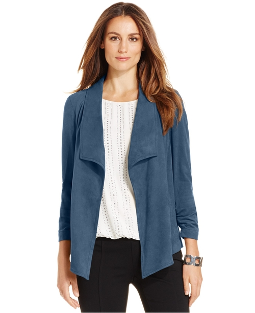 Faux-Suede Draped Cardigan by Alfani in Pretty Little Liars - Season 6 Episode 2