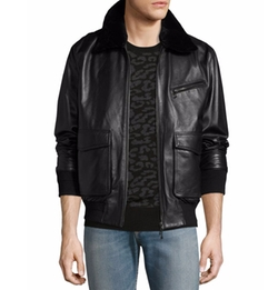 Drakon Lamb Leather Bomber Jacket by Ovadia & Sons in Power