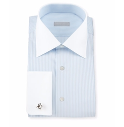 Contrast-Collar Stitch-Striped French-Cuff Dress Shirt by Stefano Ricci in Ballers