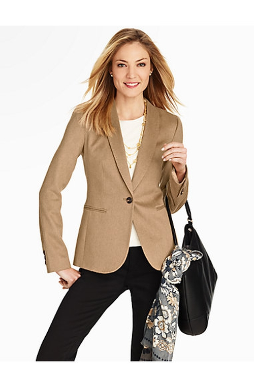 Luxe Camel Hair Jacket by Talbots in The Good Wife - Season 7 Episode 6