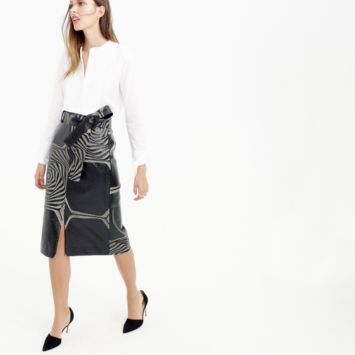 Collection A-Line Midi Skirt In Swirl Jacquard by J.Crew in Elementary - Season 4 Episode 12