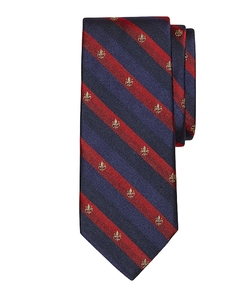 Crest Double Stripe Tie by Brooks Brothers in Triple 9