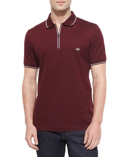 Short-Sleeve Zip Polo Shirt by Salvatore Ferragamo in Ballers
