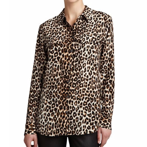 Signature Leopard-Print Slim Blouse by Equipment in Pretty Little Liars - Season 7 Episode 10