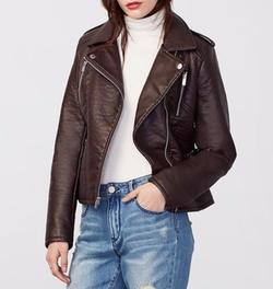 Faux Leather Moto Jacket by Rachel Roy in Preacher