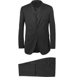 Black Attitude Slim-fit Wool Suit by Lanvin in Suits
