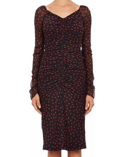 Ruched Polka Dot Georgette Dress by Dolce & Gabbana in Empire