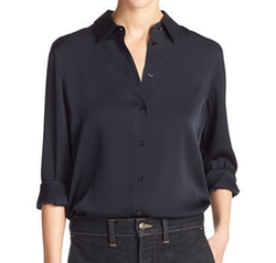 Slim-Fit Stretch-Silk Satin Blouse by Vince in Lethal Weapon