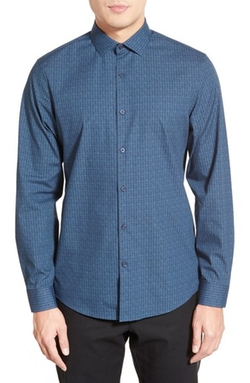 Trim Fit Print Sport Shirt by Calibrate in Silicon Valley