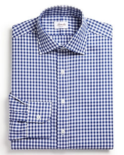 Gingham Check Oxford Dress Shirt by Hamilton in Black-ish