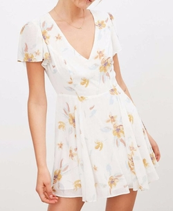 Sarah Flutter-Sleeve Chiffon Mini Dress by Kimchi Blue in 13 Reasons Why