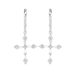 Heaven White Gold Cross Earrings by Stone in Crimson Peak