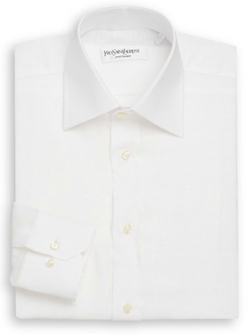 Regular-Fit Solid Linen Dress Shirt by Yves Saint Laurent in The Walk