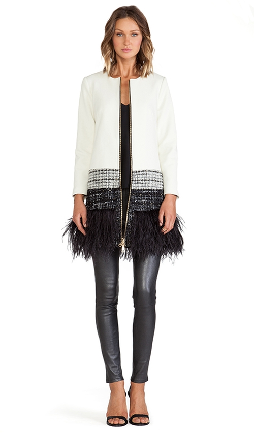 Feather Trim Jacket by Milly in Scream Queens