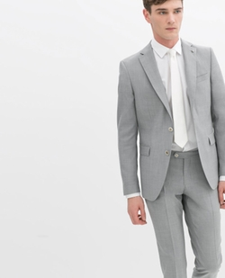 Gray Light Grey Blazer with Pinned Foldover Flap by Zara in Ballers